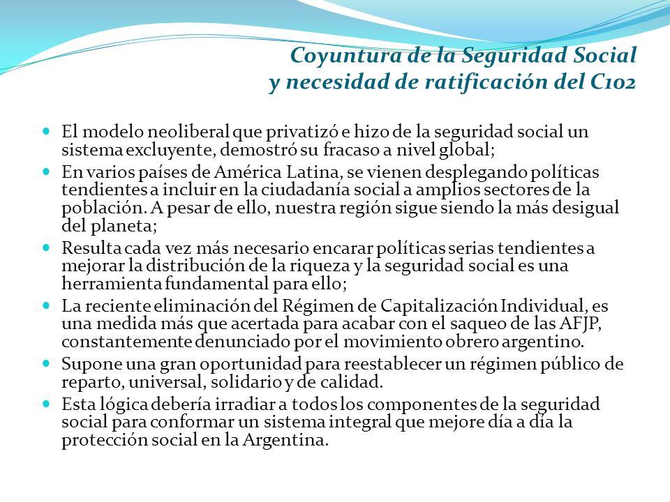 Coyuntura de la Seguridad Social y necesidad de ratificación del C102
