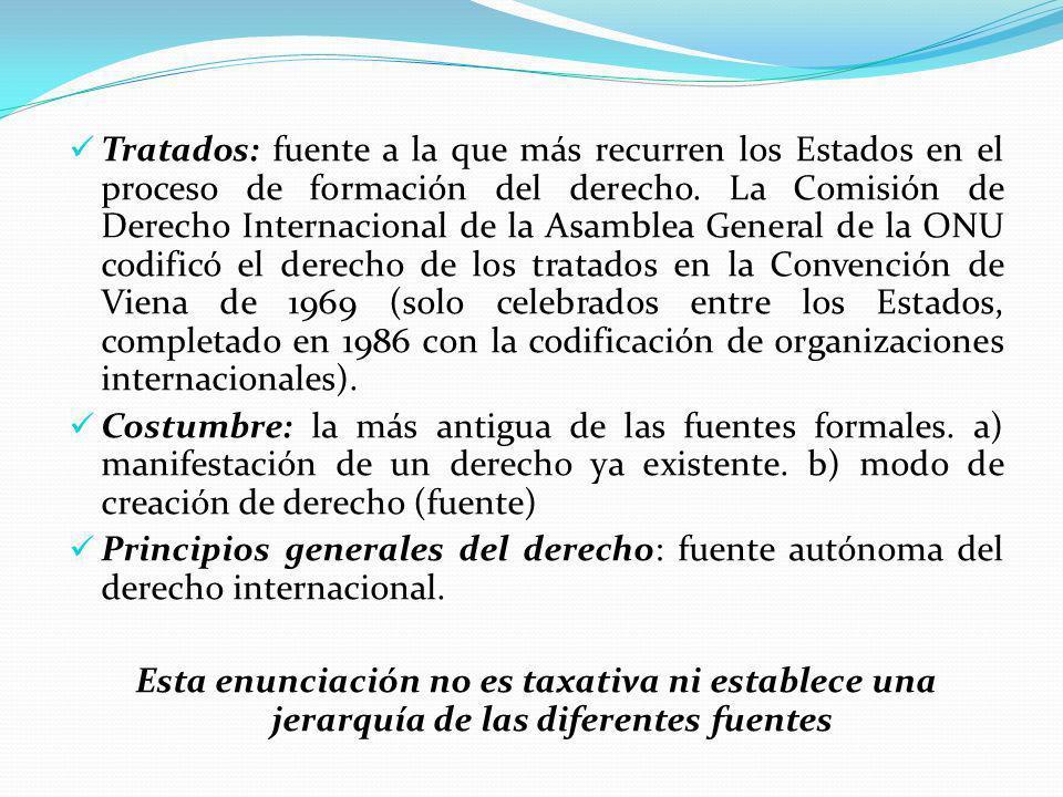 Tratados: fuente a la que más recurren los Estados en el proceso de formación del derecho. La Comisión de Derecho Internacional de la Asamblea General de la ONU codificó el derecho de los tratados en la Convención de Viena de 1969 (solo celebrados entre los Estados, completado en 1986 con la codificación de organizaciones internacionales).