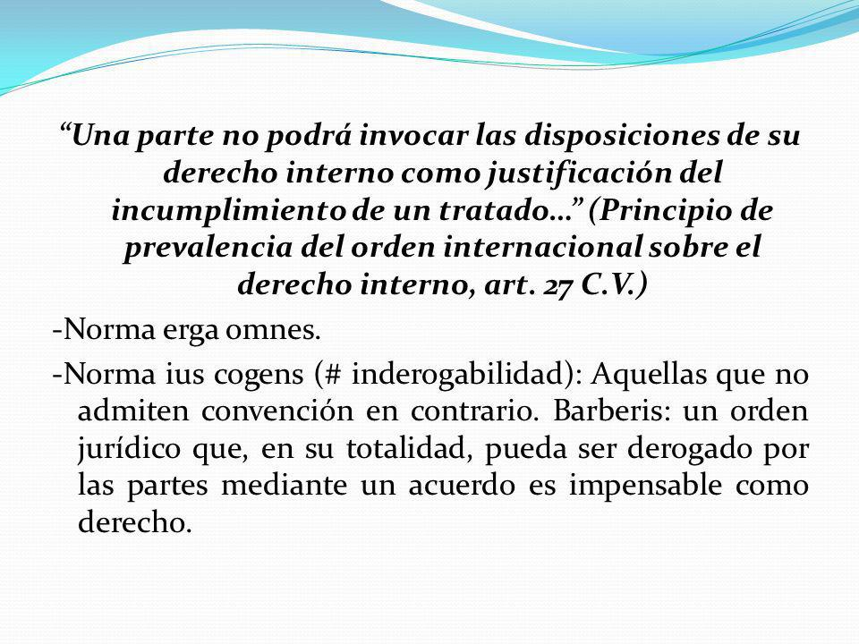 Una parte no podrá invocar las disposiciones de su derecho interno como justificación del incumplimiento de un tratado… (Principio de prevalencia del orden internacional sobre el derecho interno, art.