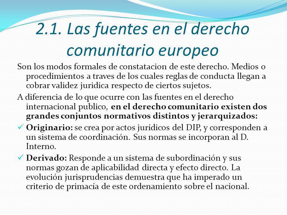 2.1. Las fuentes en el derecho comunitario europeo