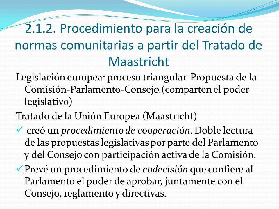 2.1.2. Procedimiento para la creación de normas comunitarias a partir del Tratado de Maastricht