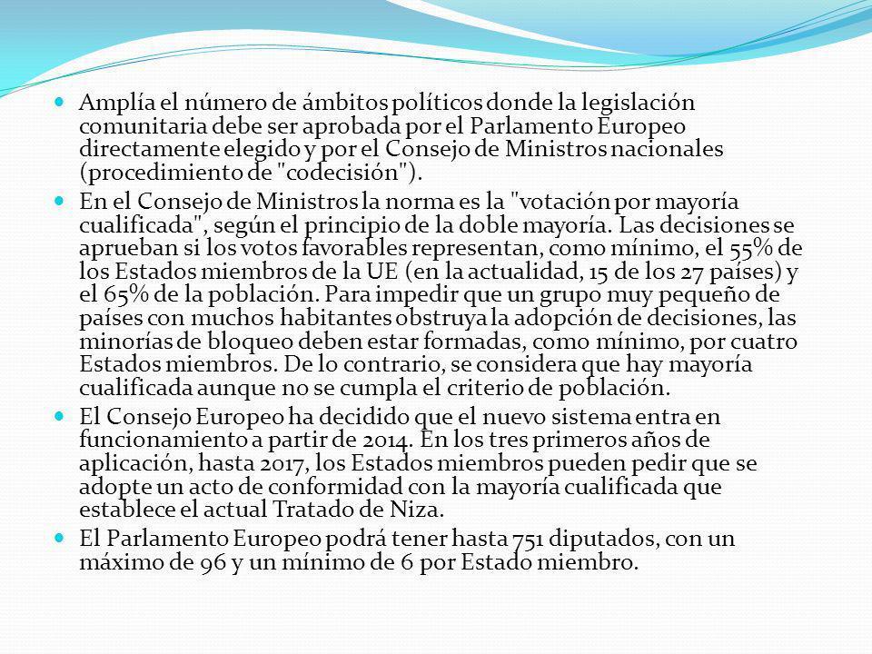 Amplía el número de ámbitos políticos donde la legislación comunitaria debe ser aprobada por el Parlamento Europeo directamente elegido y por el Consejo de Ministros nacionales (procedimiento de codecisión ).