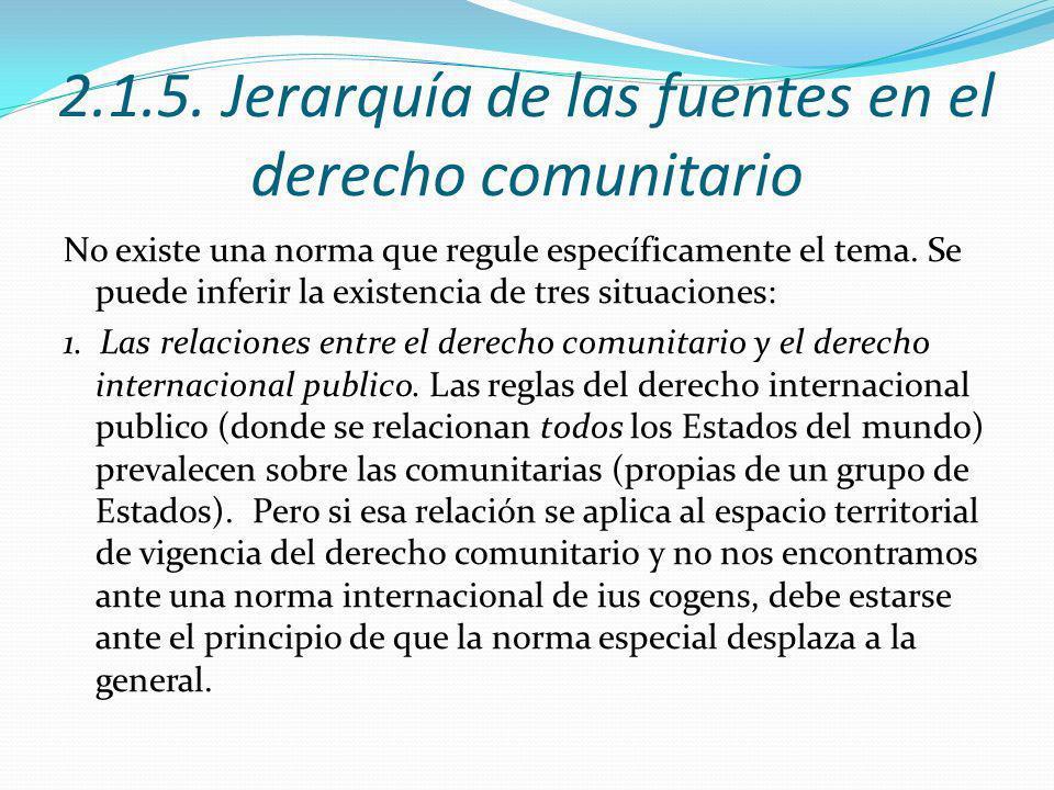 2.1.5. Jerarquía de las fuentes en el derecho comunitario