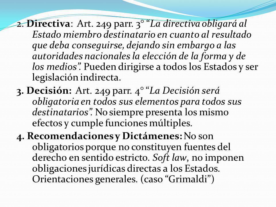 2. Directiva: Art. 249 parr.