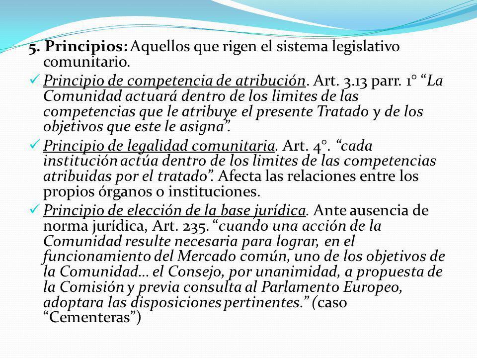 5. Principios: Aquellos que rigen el sistema legislativo comunitario.