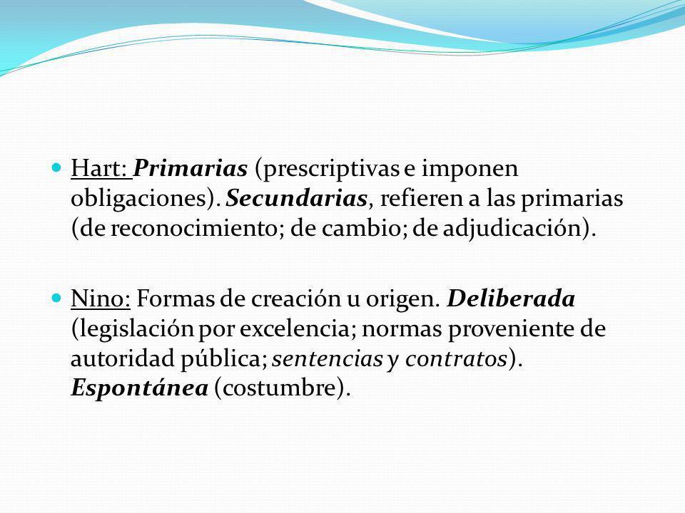 Hart: Primarias (prescriptivas e imponen obligaciones)