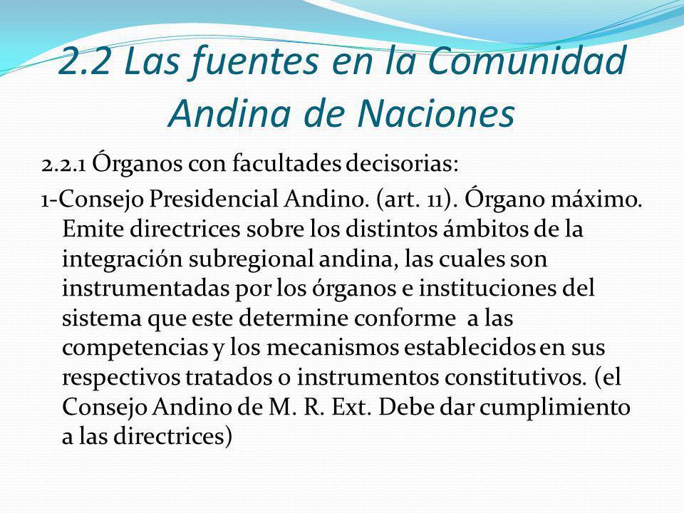 2.2 Las fuentes en la Comunidad Andina de Naciones