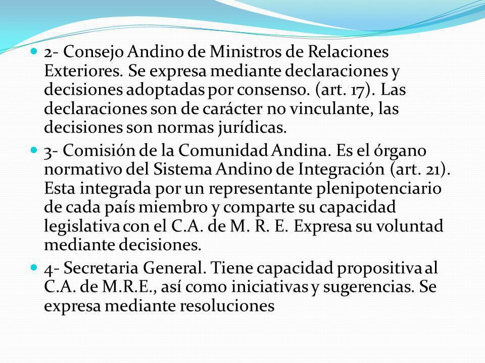 2- Consejo Andino de Ministros de Relaciones Exteriores