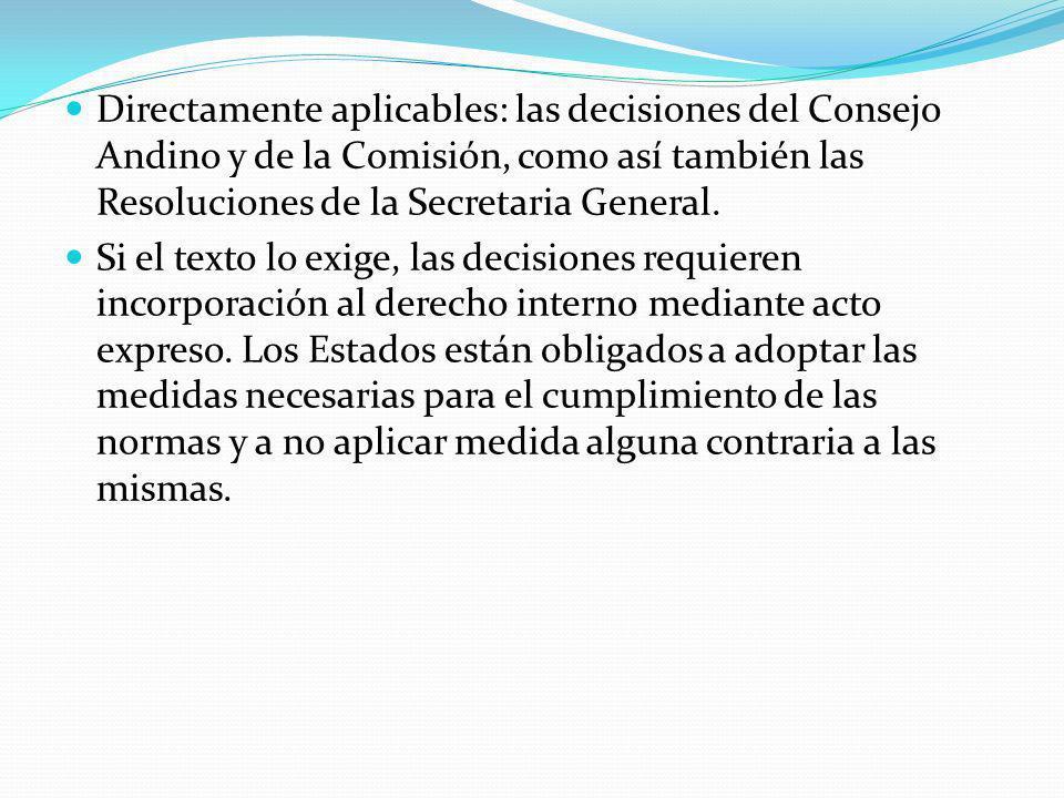 Directamente aplicables: las decisiones del Consejo Andino y de la Comisión, como así también las Resoluciones de la Secretaria General.