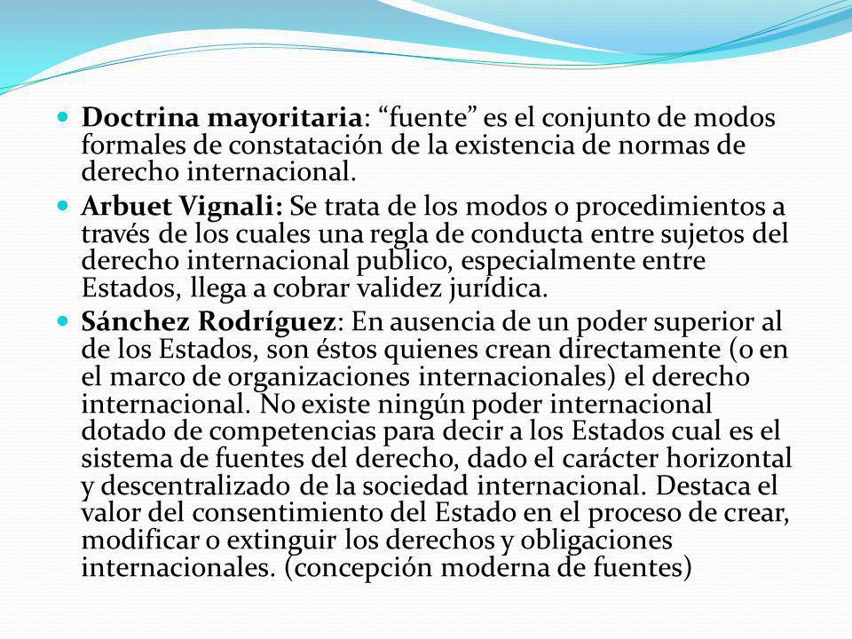 Doctrina mayoritaria: fuente es el conjunto de modos formales de constatación de la existencia de normas de derecho internacional.