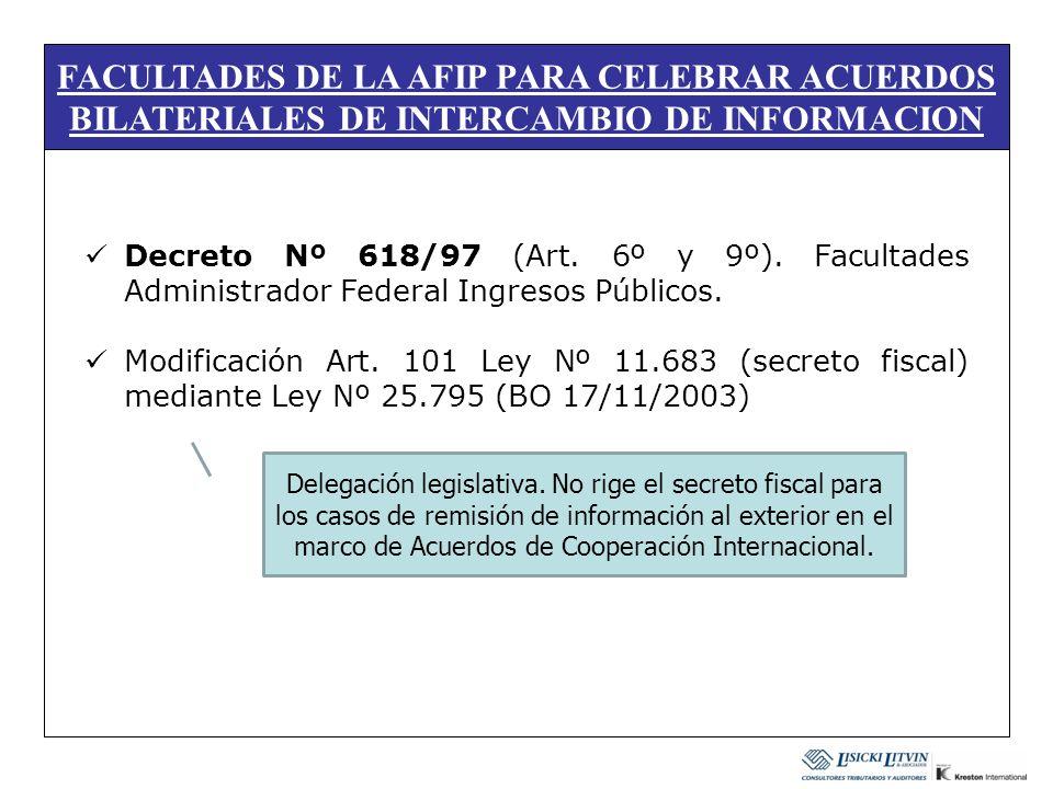 FACULTADES DE LA AFIP PARA CELEBRAR ACUERDOS BILATERIALES DE INTERCAMBIO DE INFORMACION