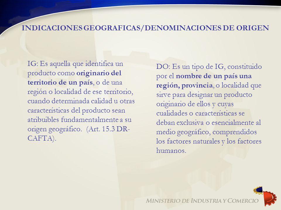 INDICACIONES GEOGRAFICAS/DENOMINACIONES DE ORIGEN