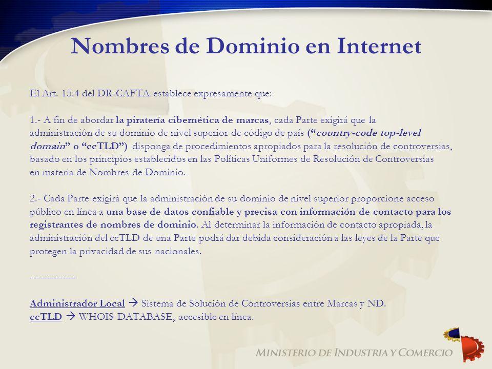 Nombres de Dominio en Internet