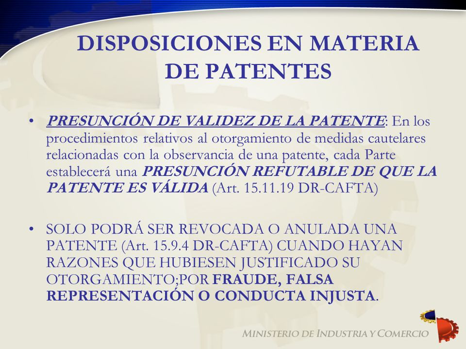 DISPOSICIONES EN MATERIA DE PATENTES