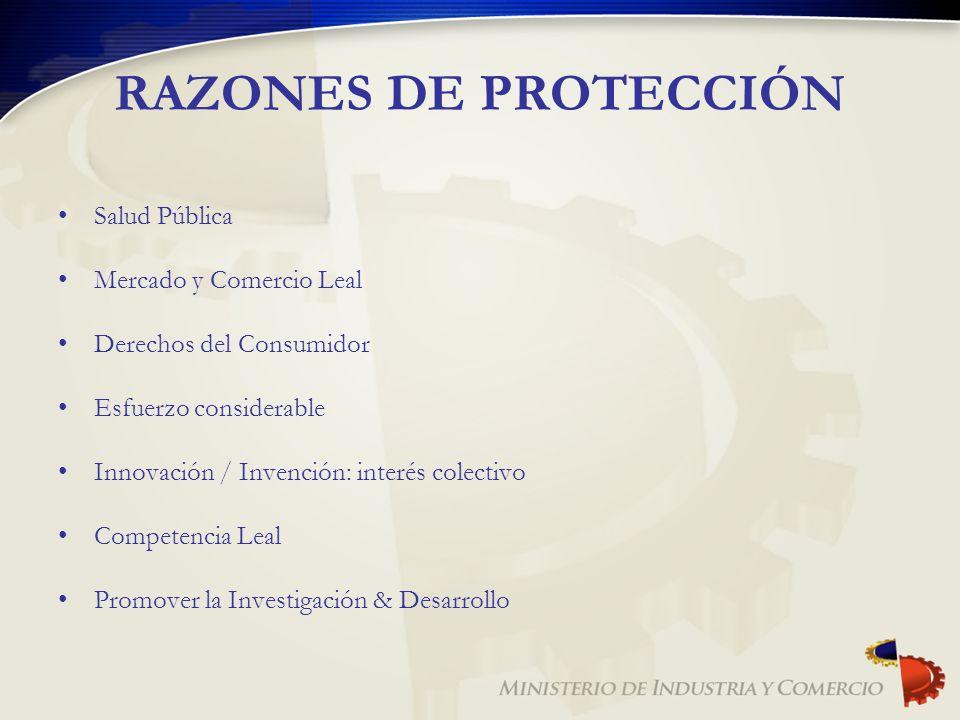 RAZONES DE PROTECCIÓN Salud Pública Mercado y Comercio Leal