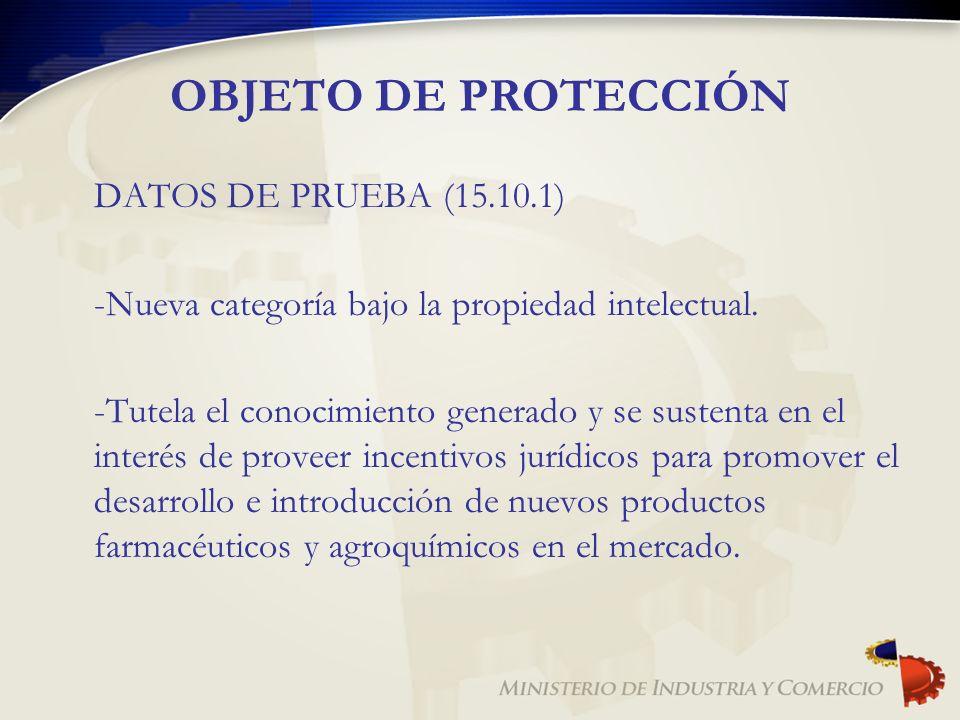 OBJETO DE PROTECCIÓN DATOS DE PRUEBA (15.10.1)