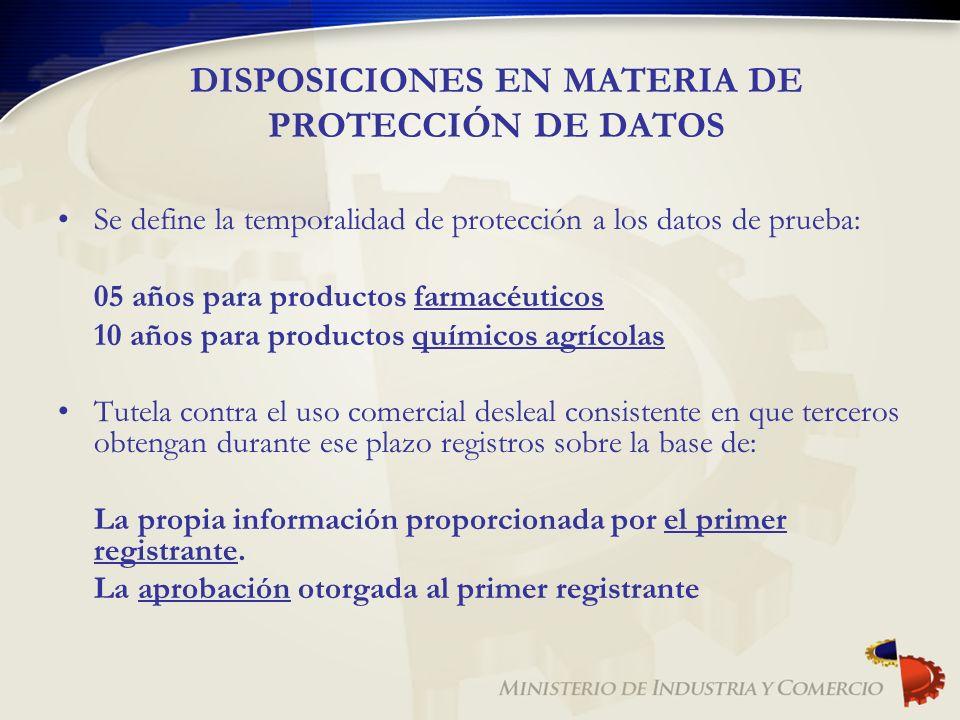 DISPOSICIONES EN MATERIA DE PROTECCIÓN DE DATOS