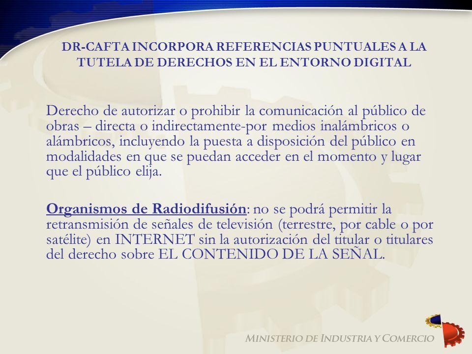 DR-CAFTA INCORPORA REFERENCIAS PUNTUALES A LA TUTELA DE DERECHOS EN EL ENTORNO DIGITAL