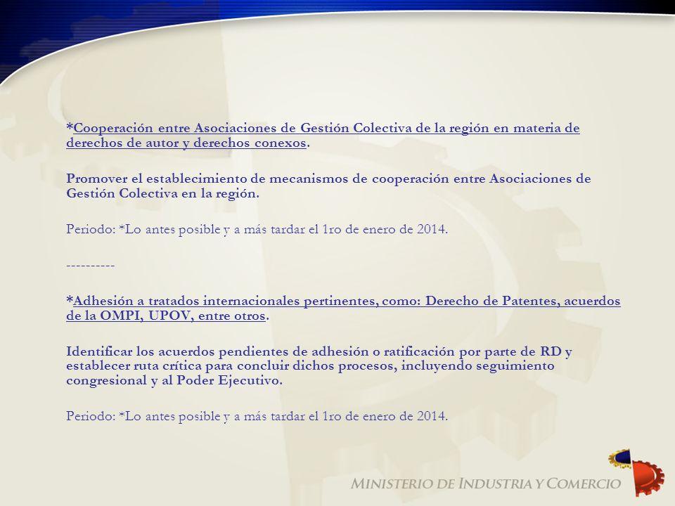 *Cooperación entre Asociaciones de Gestión Colectiva de la región en materia de derechos de autor y derechos conexos.