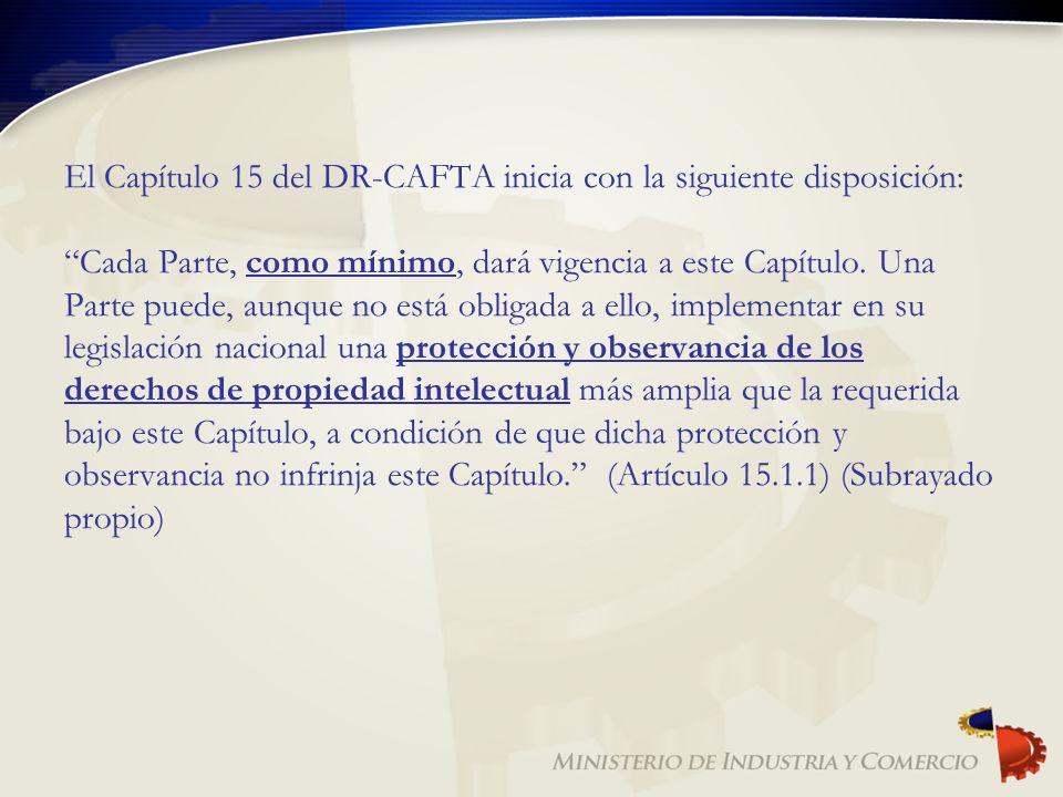 El Capítulo 15 del DR-CAFTA inicia con la siguiente disposición: Cada Parte, como mínimo, dará vigencia a este Capítulo.