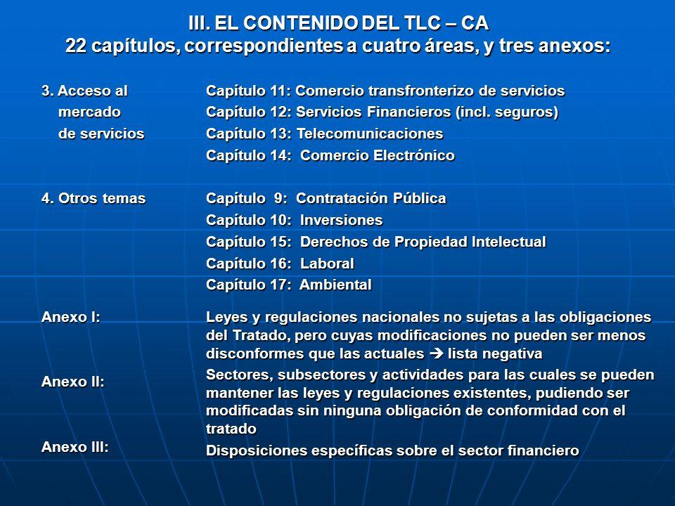 III. EL CONTENIDO DEL TLC – CA 22 capítulos, correspondientes a cuatro áreas, y tres anexos: