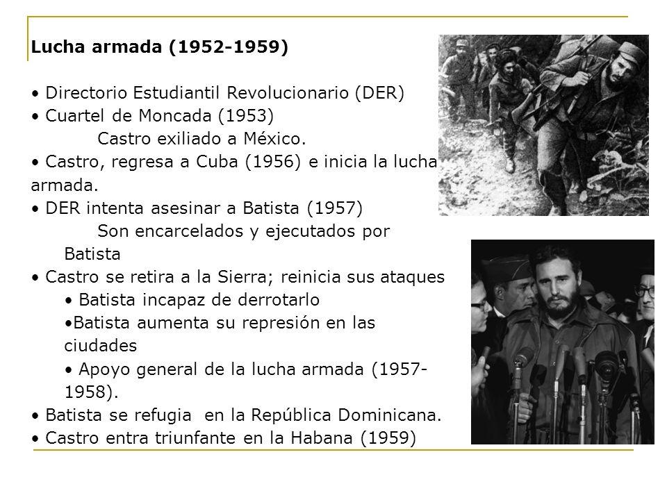 Lucha armada (1952-1959) Directorio Estudiantil Revolucionario (DER) Cuartel de Moncada (1953) Castro exiliado a México.