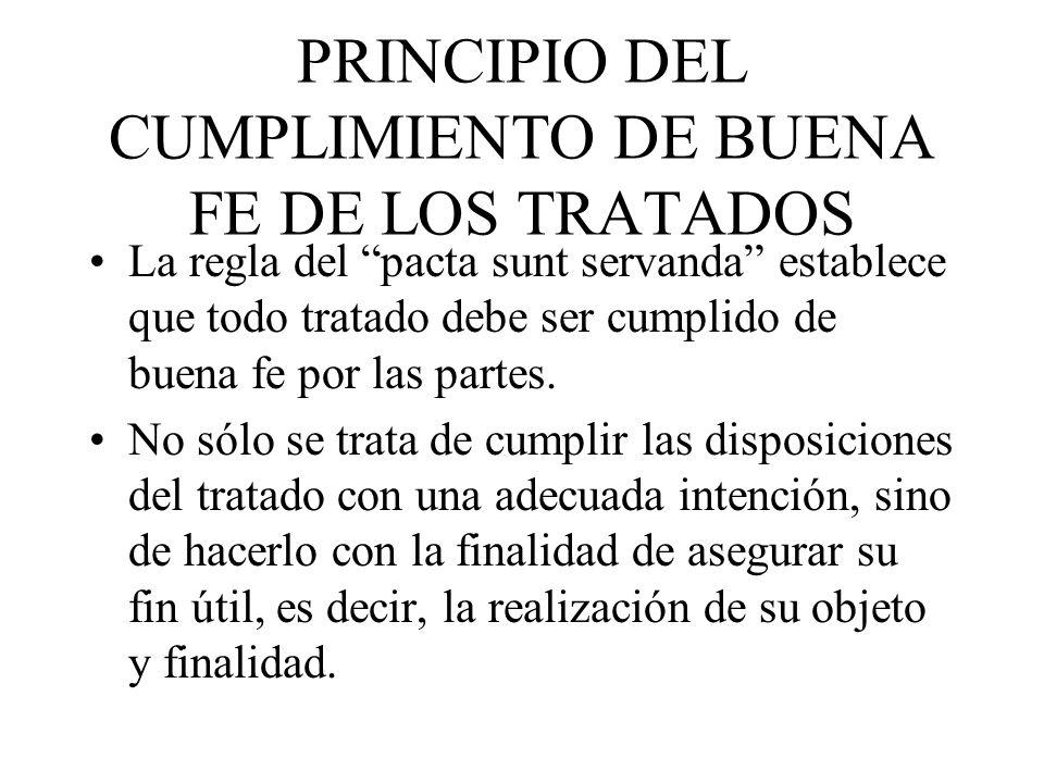 PRINCIPIO DEL CUMPLIMIENTO DE BUENA FE DE LOS TRATADOS
