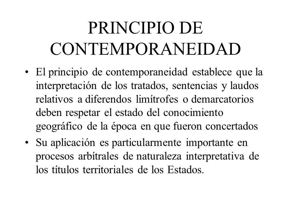 PRINCIPIO DE CONTEMPORANEIDAD