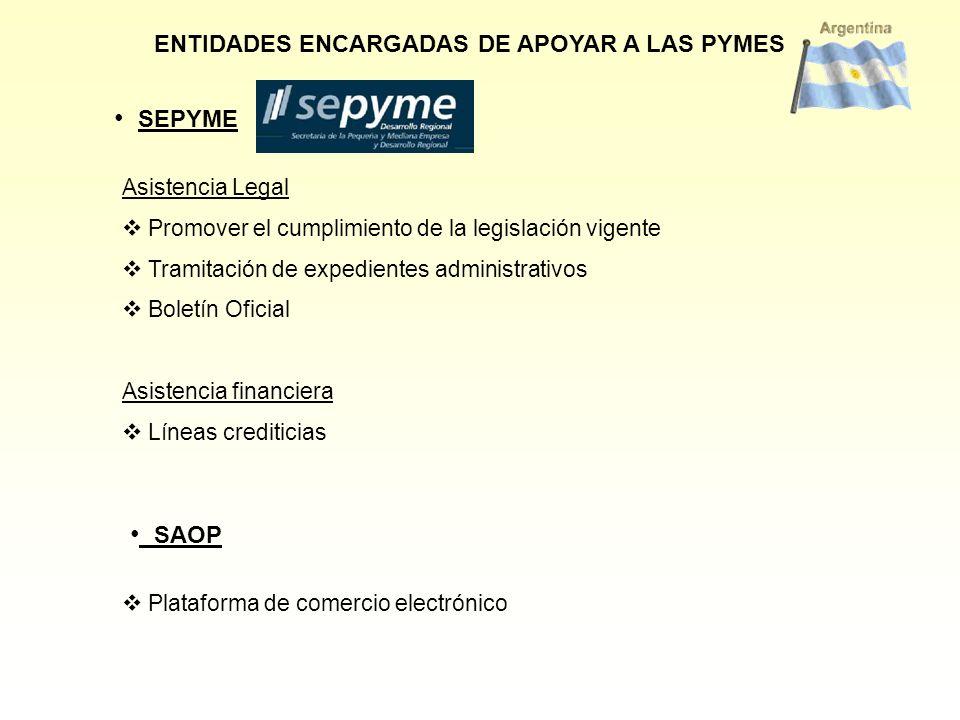 SEPYME SAOP ENTIDADES ENCARGADAS DE APOYAR A LAS PYMES