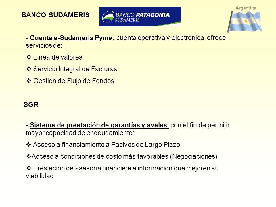 BANCO SUDAMERIS Cuenta e-Sudameris Pyme: cuenta operativa y electrónica, ofrece servicios de: Línea de valores.