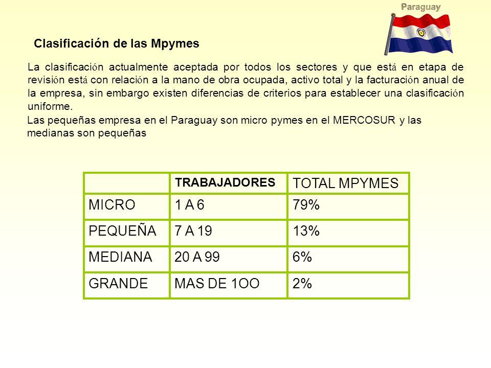 2% MAS DE 1OO GRANDE 6% 20 A 99 MEDIANA 13% 7 A 19 PEQUEÑA 79% 1 A 6