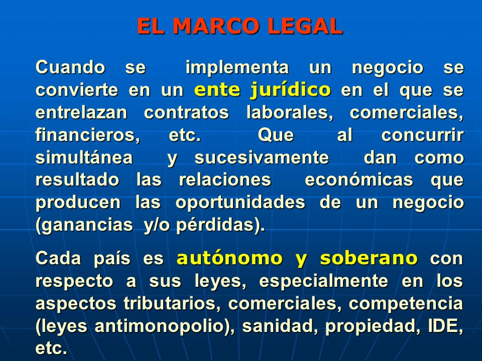 EL MARCO LEGAL