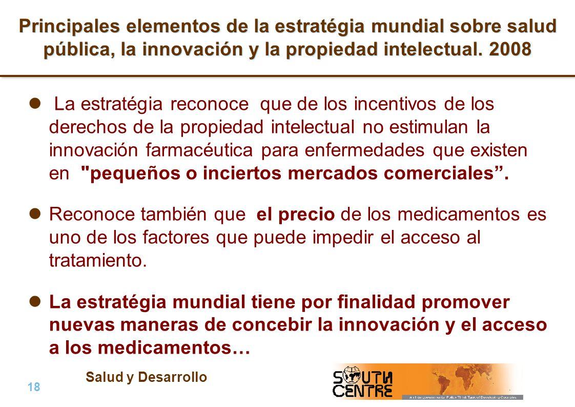 Principales elementos de la estratégia mundial sobre salud pública, la innovación y la propiedad intelectual. 2008