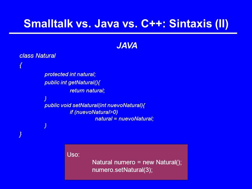 Smalltalk vs. Java vs. C++: Sintaxis (II)