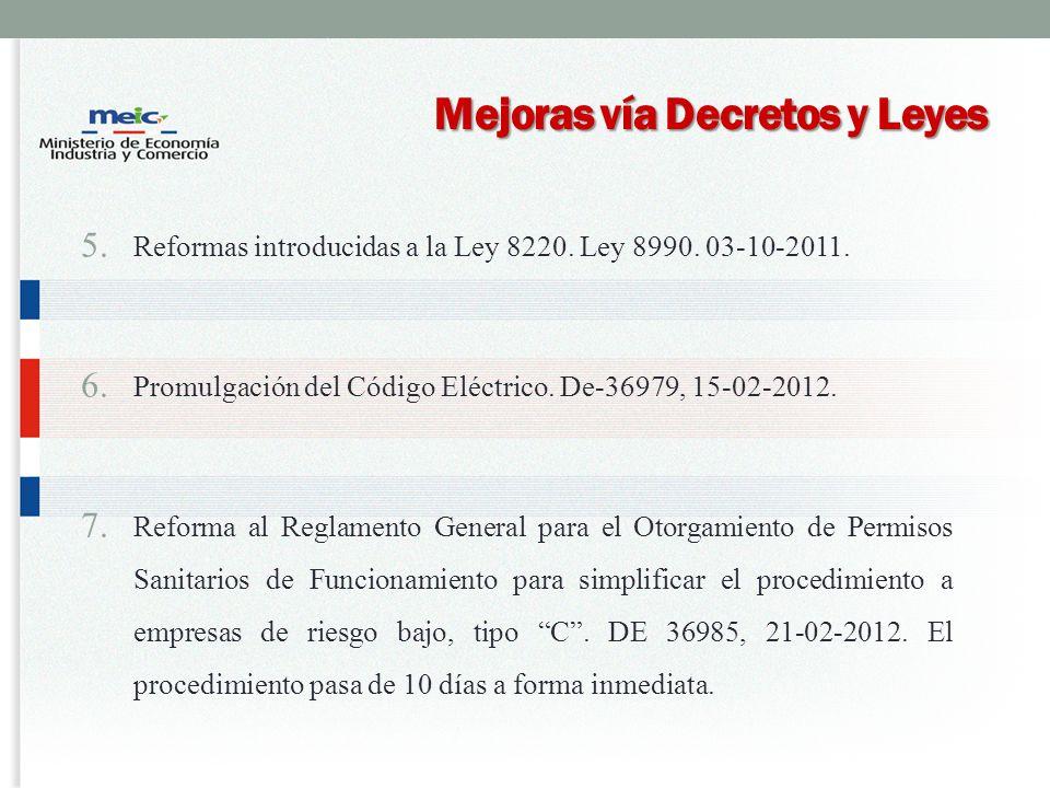 Mejoras vía Decretos y Leyes