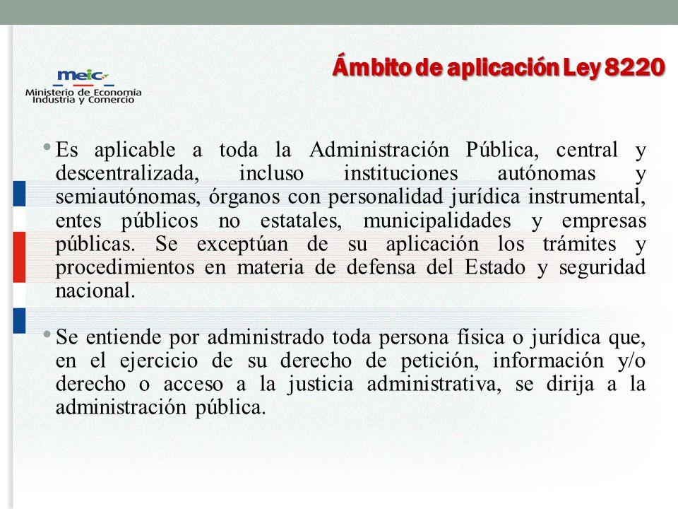Ámbito de aplicación Ley 8220