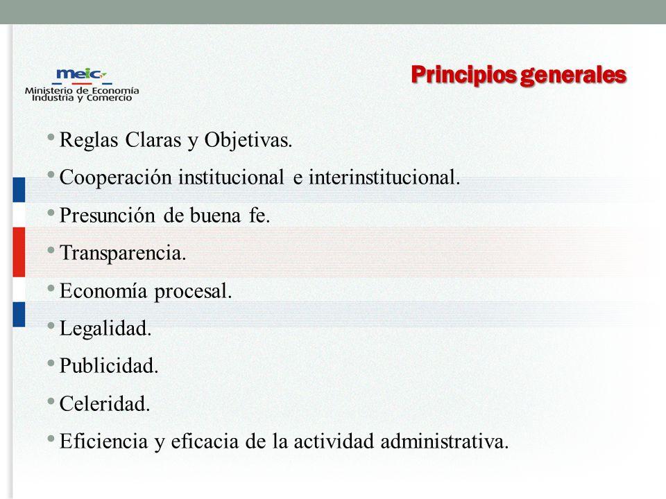 Principios generales Reglas Claras y Objetivas.
