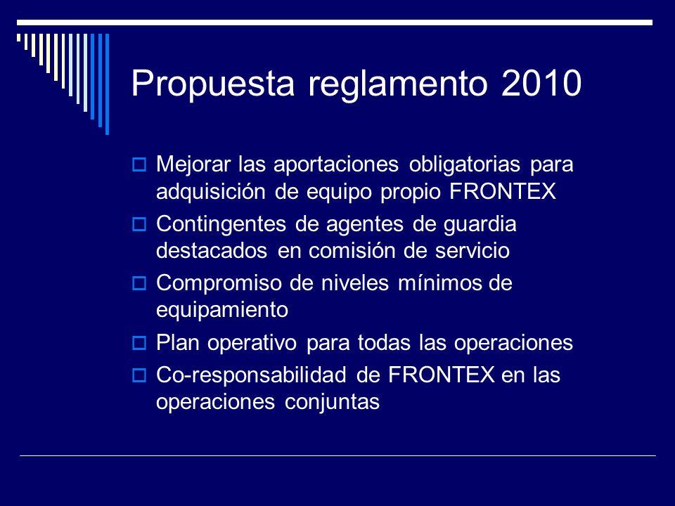 Propuesta reglamento 2010 Mejorar las aportaciones obligatorias para adquisición de equipo propio FRONTEX.