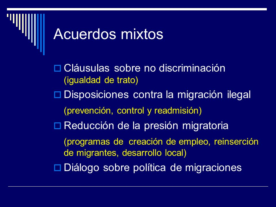 Acuerdos mixtos Cláusulas sobre no discriminación (igualdad de trato)