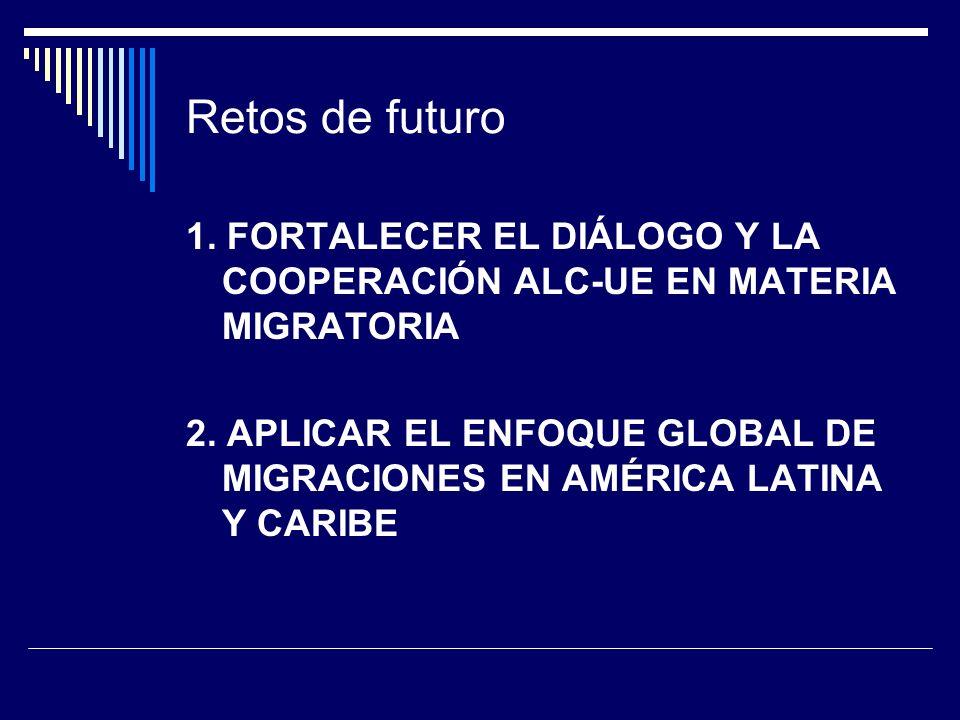 Retos de futuro 1. FORTALECER EL DIÁLOGO Y LA COOPERACIÓN ALC-UE EN MATERIA MIGRATORIA.