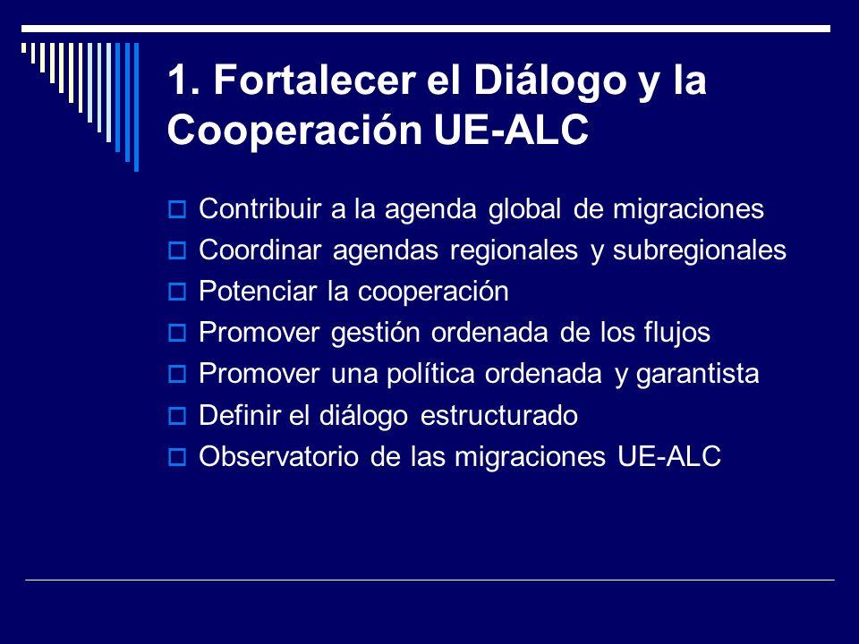 1. Fortalecer el Diálogo y la Cooperación UE-ALC
