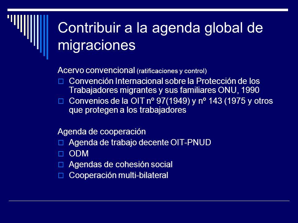 Contribuir a la agenda global de migraciones