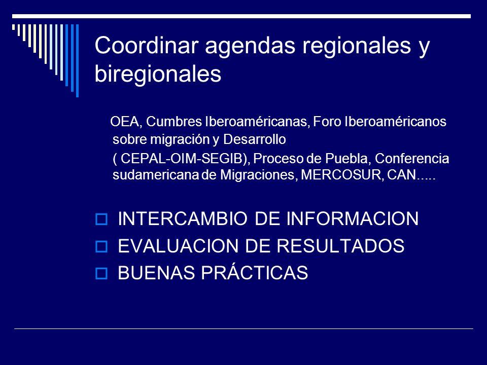 Coordinar agendas regionales y biregionales