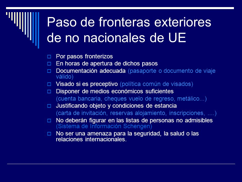 Paso de fronteras exteriores de no nacionales de UE