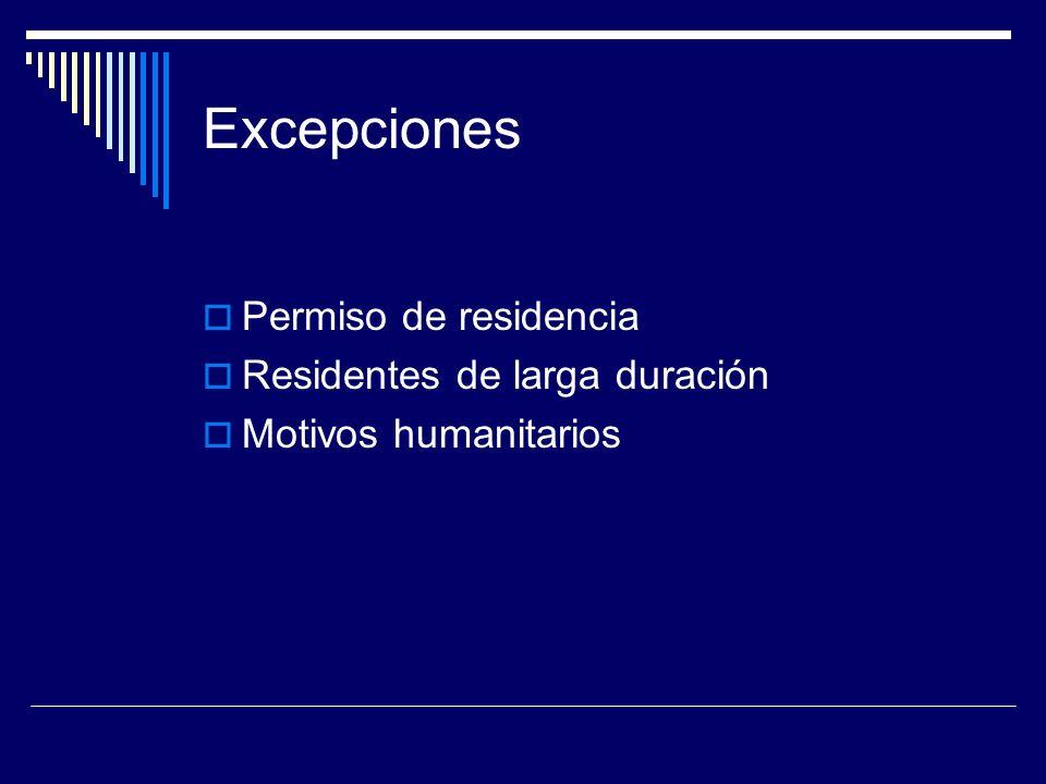 Excepciones Permiso de residencia Residentes de larga duración