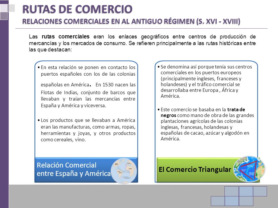 RUTAS DE COMERCIO RELACIONES COMERCIALES EN AL ANTIGUO RÉGIMEN (S. XVI - XVIII)