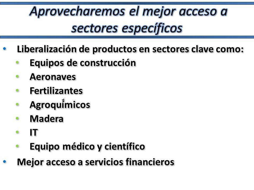 Aprovecharemos el mejor acceso a sectores específicos