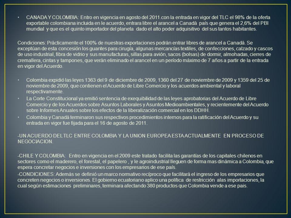 CANADA Y COLOMBIA: Entro en vigencia en agosto del 2011