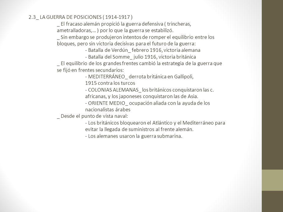 2.3_ LA GUERRA DE POSICIONES ( 1914-1917 )