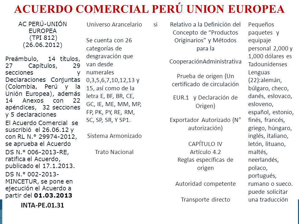 EXCEPCIÓN PRESENT/IDIOMAS ACUERDO COMERCIAL PERÚ UNION EUROPEA